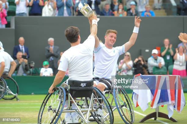 Gordon Reid and Alfie Hewett of Great Britain celebrate with the torphy after winning the Gentlemen's wheel chair doubles final against Stephane...