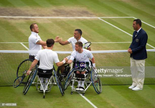 Gordon Reid and Alfie Hewett shake hands before their Gentlemen's Wheelchair Doubles Final on Court 3 against Stephane Houdet and Nicolas Peifer of...