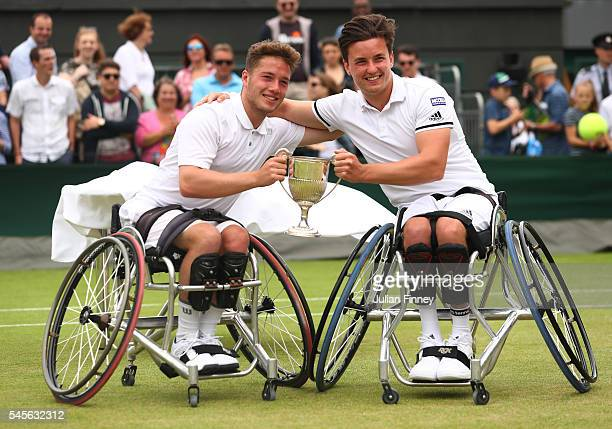 Gordon Reid of Great Britain and Alfie Hewett of Great Britain celebrate victory during the Men's Wheelchair Doubles Final against Stephane Houdet of...