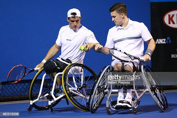 Gordon Reid of Great Britain and Gustavo Fernandez of Argentina in action in their Men's wheelchair doubles final against Shingo Kunieda of Japan and...