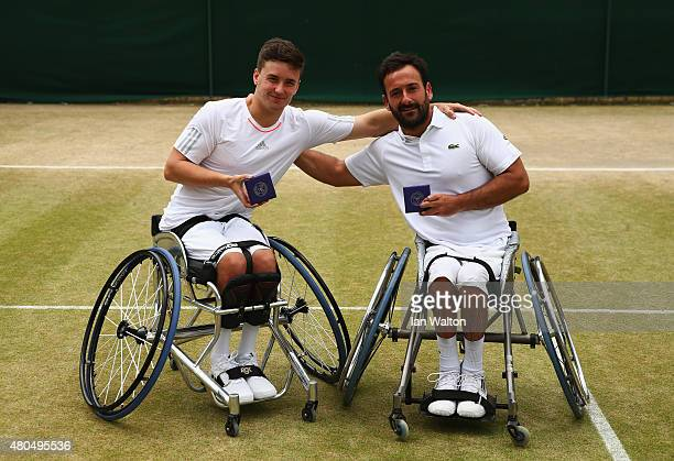 Gordon Reid of Great Britain and Michael Jeremiasz of France pose with their runners up medals after the Final Of The Wheelchair Gentlemen's Doubles...