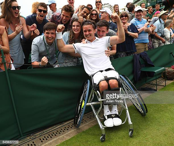 Gordon Reid of Great Britain celebrates victory during the Men's Wheelchair Doubles Final against Stephane Houdet of France and Nicolas Peifer of...
