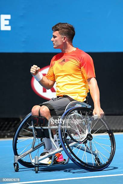 Gordon Reid of Great Britain competes against Shingo Kunieda of Japan during the Australian Open 2016 Wheelchair Championships at Melbourne Park on...