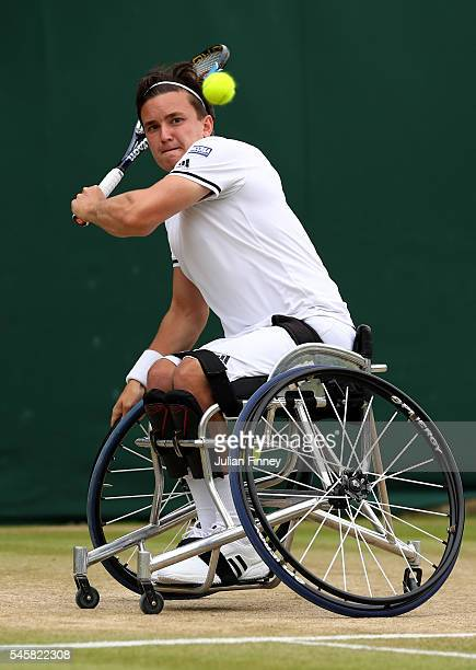 Gordon Reid of Great Britain hits a backhand during the Men's Wheelchair singles final against Stefan Olsson of Sweden on day thirteen of the...