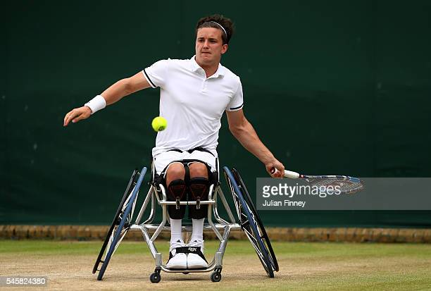 Gordon Reid of Great Britain hits a forehand during the Men's Wheelchair singles final against Stefan Olsson of Sweden on day thirteen of the...