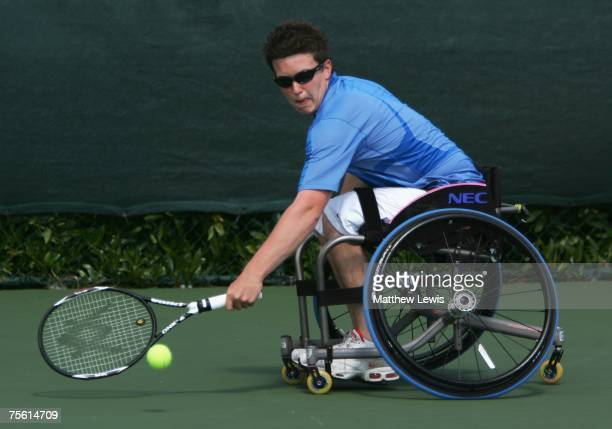 Gordon Reid of Great Britain in action against Maikel Scheffers of the Netherlands during the British Open Wheelchair Championships at the Nottingham...