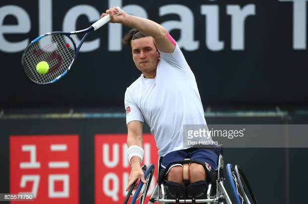 Gordon Reid of Great Britain in action during his match against Daniel Rodrigues of Brazil on day two of the British Open Wheelchair Tennis on August...