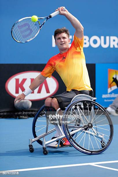 Gordon Reid of Great Britain plays a backhand in his Men's Wheelchair Singles Final match against Joachim Gerard of Belgium during the Australian...