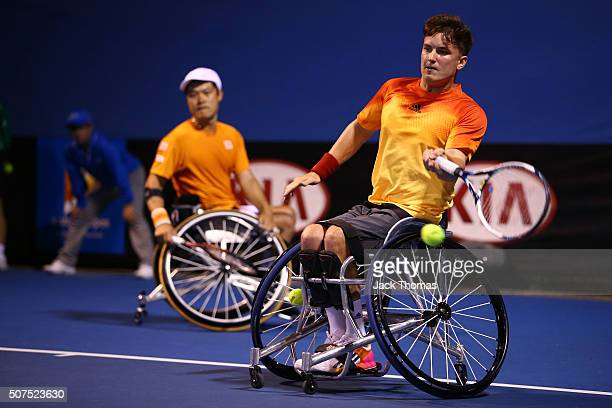Gordon Reid of Great Britain plays a forehand during the Men's Wheelchair Doubles Final at the Australian Open 2016 Wheelchair Championships at...