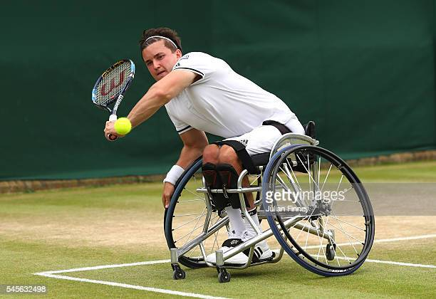 Gordon Reid of Great Britain plays a forehand during the Men's Wheelchair Doubles Final against Stephane Houdet of France and Nicolas Peifer of...