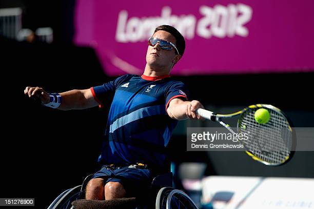 Gordon Reid of Great Britain plays a forehand in the Men's Singles Wheelchair Tennis quarterfinals on day 7 of the London 2012 Paralympic Games at...