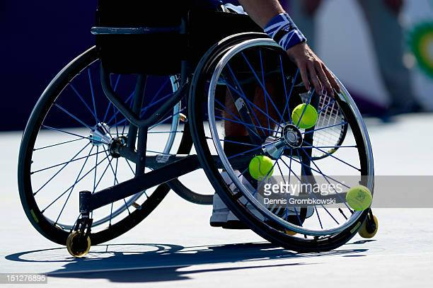 Gordon Reid of Great Britain serves in the Men's Singles Wheelchair Tennis quarterfinals on day 7 of the London 2012 Paralympic Games at Eton Manor...