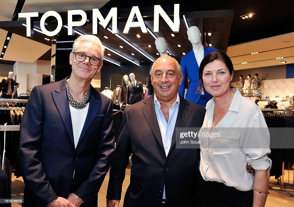 Gordon Richardson, Creative Director of TOPMAN, Sir <a gi-track='captionPersonalityLinkClicked' href=/galleries/search?phrase=Philip+Green+-+British+Businessman&family=editorial&specificpeople=220418 ng-click='$event.stopPropagation()'>Philip Green</a> and Kate Phelan, Creative Director of TOPSHOP attend the press day at Topshop Topman at the Grove on February 12, 2013 in Los Angeles, California.