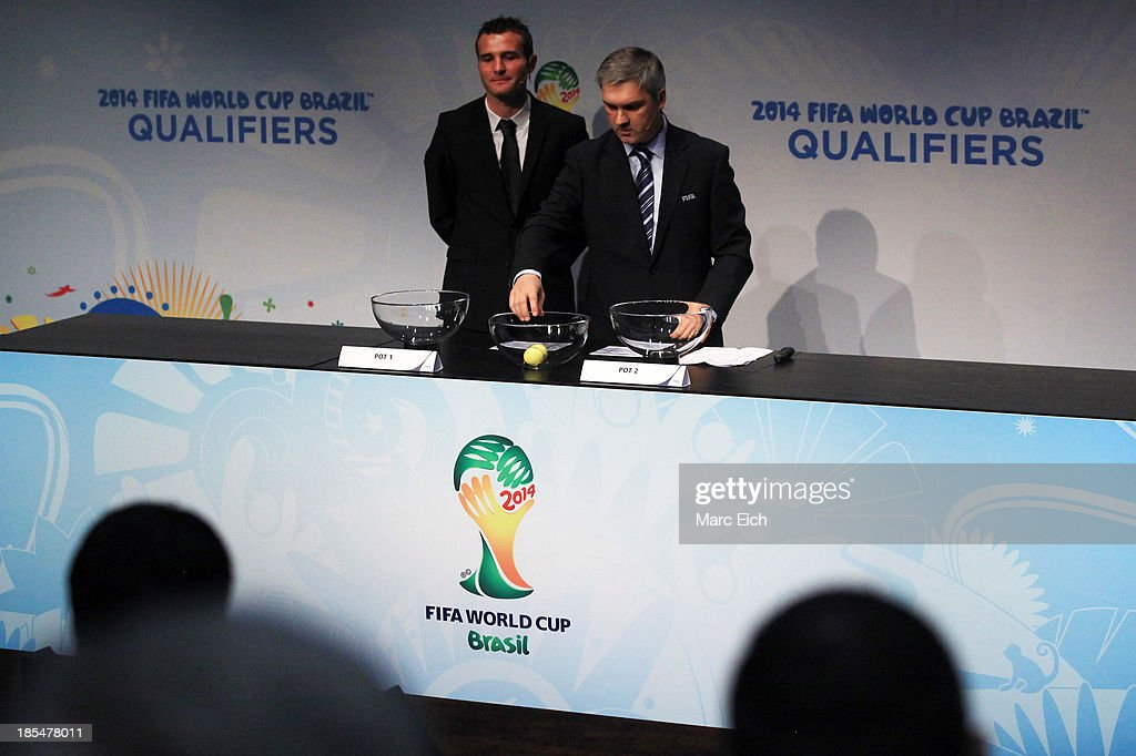 Gordon Savic, head of FIFA World Cup Qualifiers, picks up a ball during the FIFA World Cup 2014 European Zone Play-Off Match Draw at the FIFA headquarter on October 21, 2013 in Zurich, Switzerland.