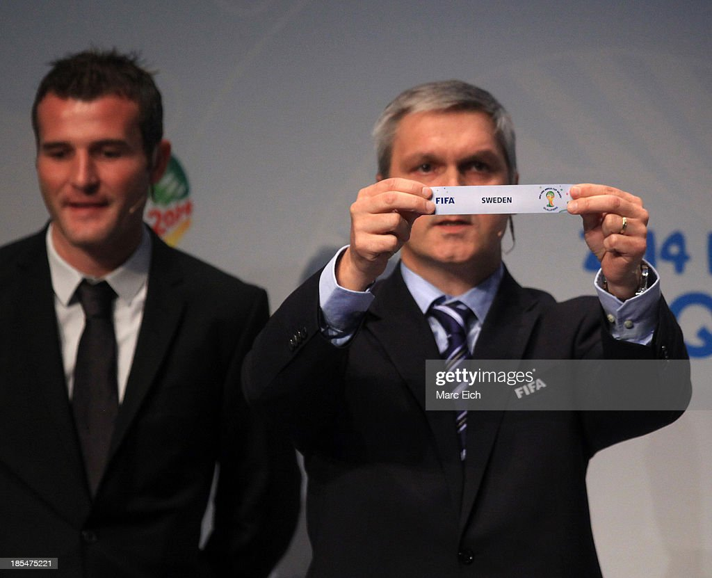Gordon Savic, head of FIFA World Cup Qualifiers, shows the name of Sweden during the FIFA World Cup 2014 European Zone Play-Off Match Draw at the FIFA headquarter on October 21, 2013 in Zurich, Switzerland.