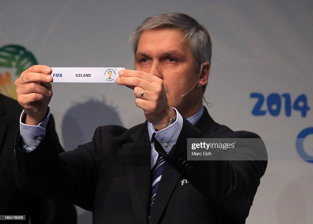 Gordon Savic, head of FIFA World Cup Qualifiers, shows the name of Iceland during the FIFA World Cup 2014 European Zone Play-Off Match Draw at the FIFA headquarter on October 21, 2013 in Zurich, Switzerland.
