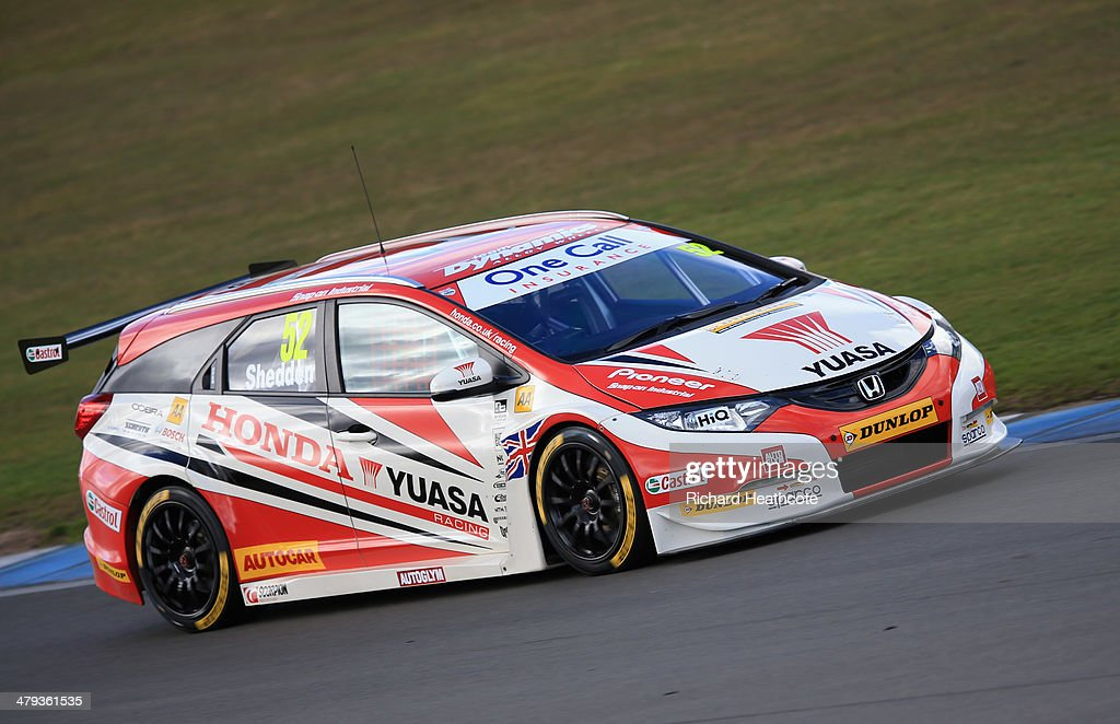 Gordon Shedden in the Honda Yuasa Racing Civic Tourer in action during the 2014 Dunlop MSA British Touring Car Championship media day at Donington Park on March 18, 2014 in Castle Donington, England.