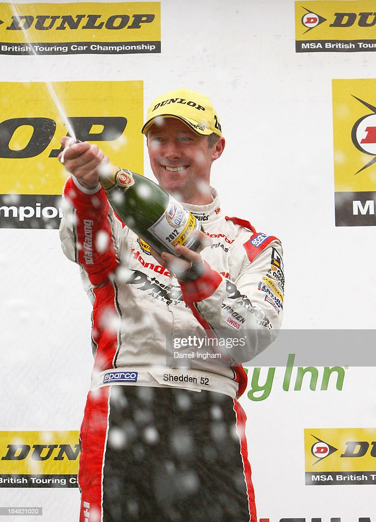 Gordon Shedden of Great Britain, driver of the #52 Honda YUASA Racing Team Honda Civic celebrates after winning the Dunlop MSA British Touring Car Championship at the Brands Hatch Circuit on October 21, 2012 near Longfield, United Kingdom.