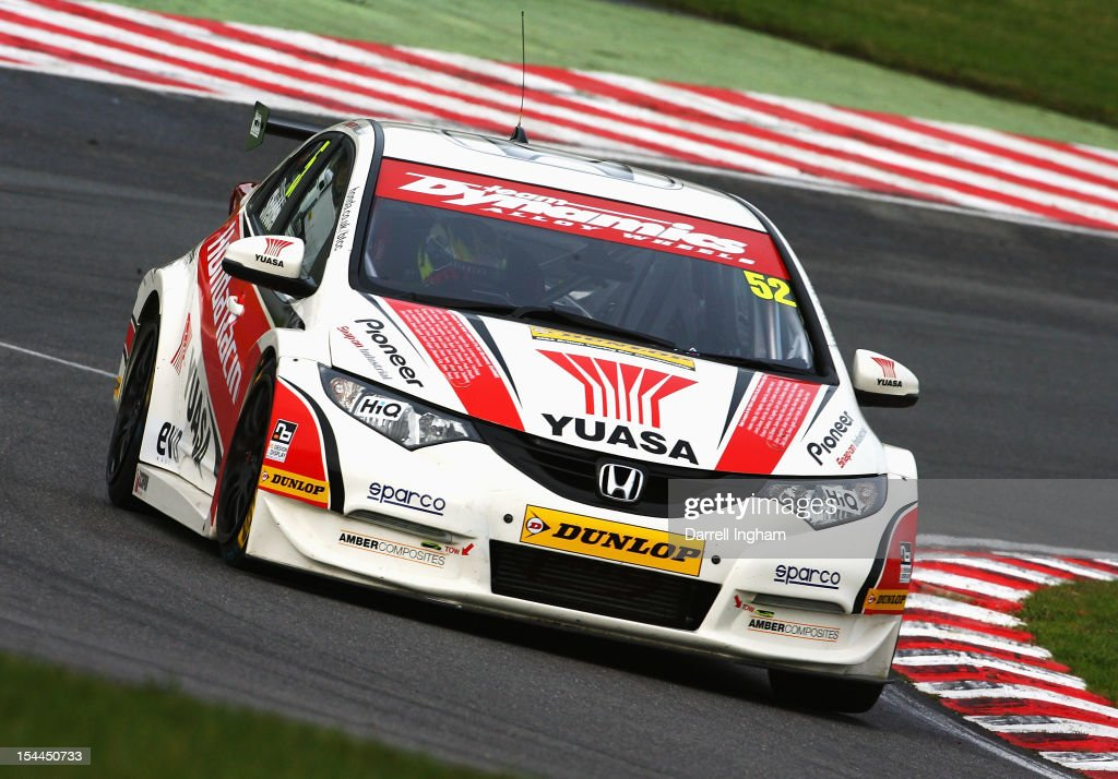 Gordon Shedden of Great Britain drives the #52 Honda YUASA Racing Team Honda Civic during practice for the Dunlop MSA British Touring Car Championship race at the Brands Hatch Circuit on October 20, 2012 near Longfield, United Kingdom.