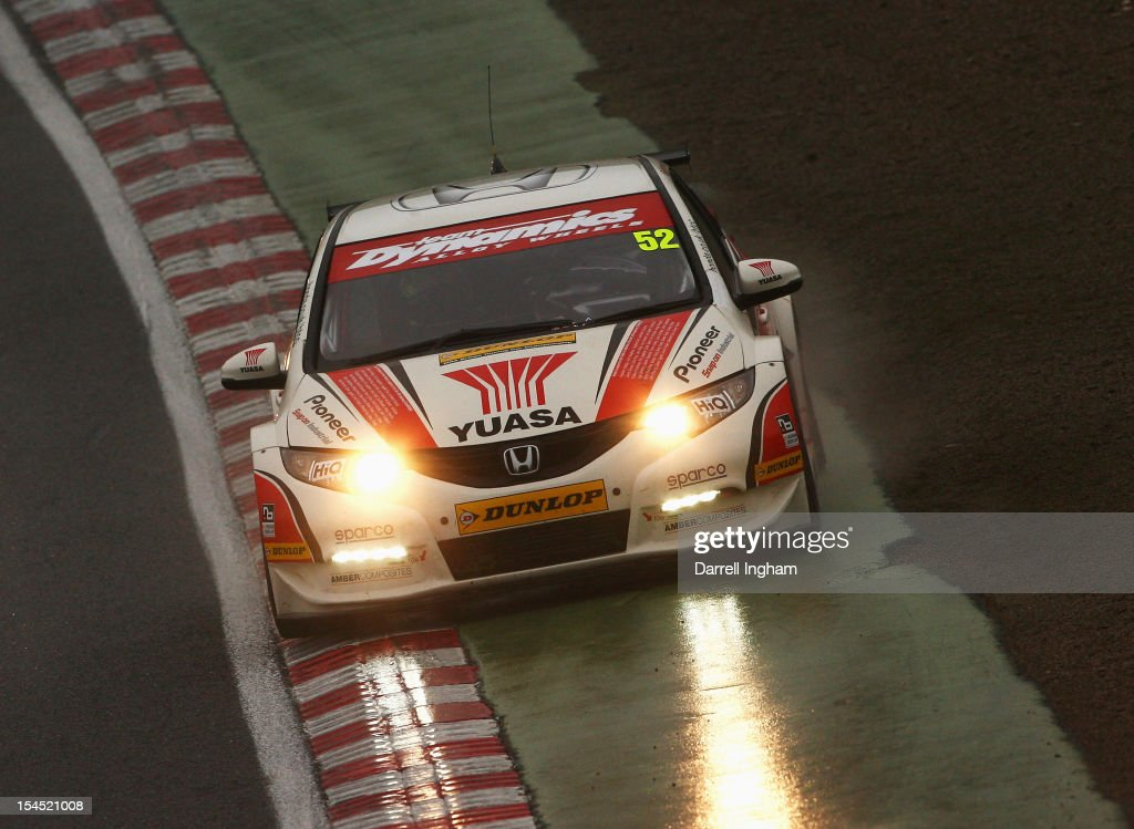 Gordon Shedden of Great Britain drives the #52 Honda YUASA Racing Team Honda Civic in the rain during the Dunlop MSA British Touring Car Championship race at the Brands Hatch Circuit on October 21, 2012 near Longfield, United Kingdom.