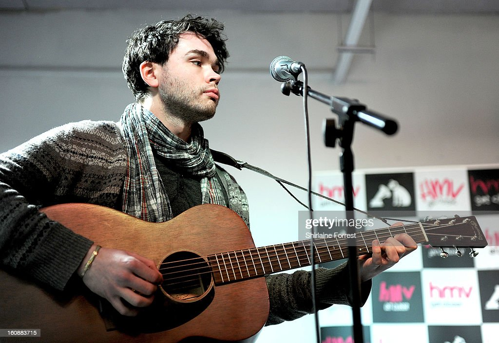 Gordon Skene of Frightened Rabbit performs live and sign copies of their new album 'Pedestrian Verse' at HMV Market Street on February 6, 2013 in Manchester, England.