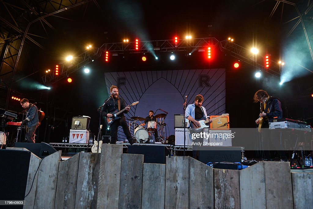 Gordon Skene, Scott Hutchison, Gordon Hutchison, Billy Kennedy and Andy Monoghan of the band Frightened Rabbit perform on stage on Day 3 of End Of The Road Festival 2013 at Larmer Tree Gardens on September 1, 2013 in Salisbury, England.
