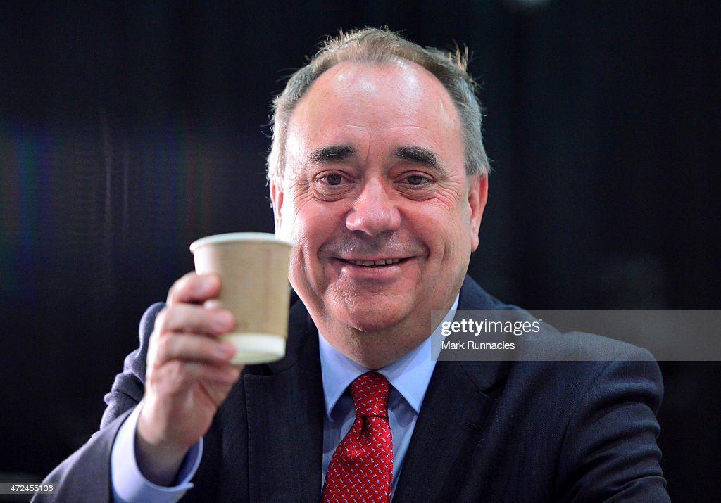 Gordon SNP candidate and Former First Minister <a gi-track='captionPersonalityLinkClicked' href=/galleries/search?phrase=Alex+Salmond&family=editorial&specificpeople=857688 ng-click='$event.stopPropagation()'>Alex Salmond</a> attends the Aberdeen Exhibition and Conference Centre on May 08, 2015 in Aberdeen, Scotland. The United Kingdom has gone to the polls to vote for a new government in one of the most closely fought General Elections in recent history. With the result too close to call it is anticipated that there will be no overall clear majority winner and a coalition government will have to be formed once again.
