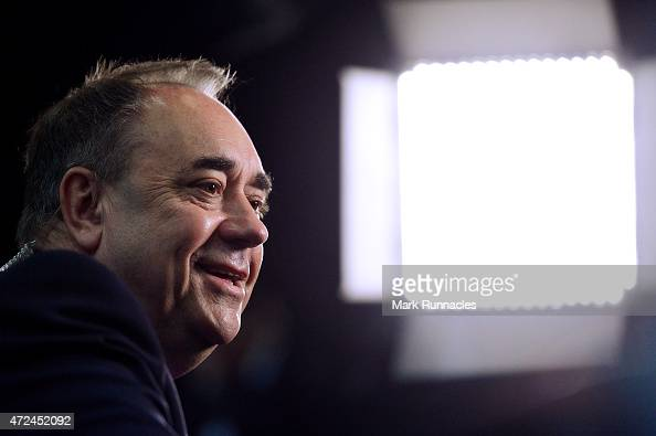 Gordon SNP candidate and Former First Minister Alex Salmond conducts a TV interview after arriving at the Aberdeen Exhibition and Conference Centre...