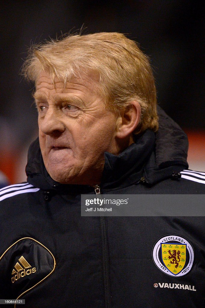 Gordon Stachan coach of Scotland reacts at the end of the international friendly match between Scotland and Estonia at Pittodrie Stadium on February 6, 2013 in Aberdeen, Scotland.