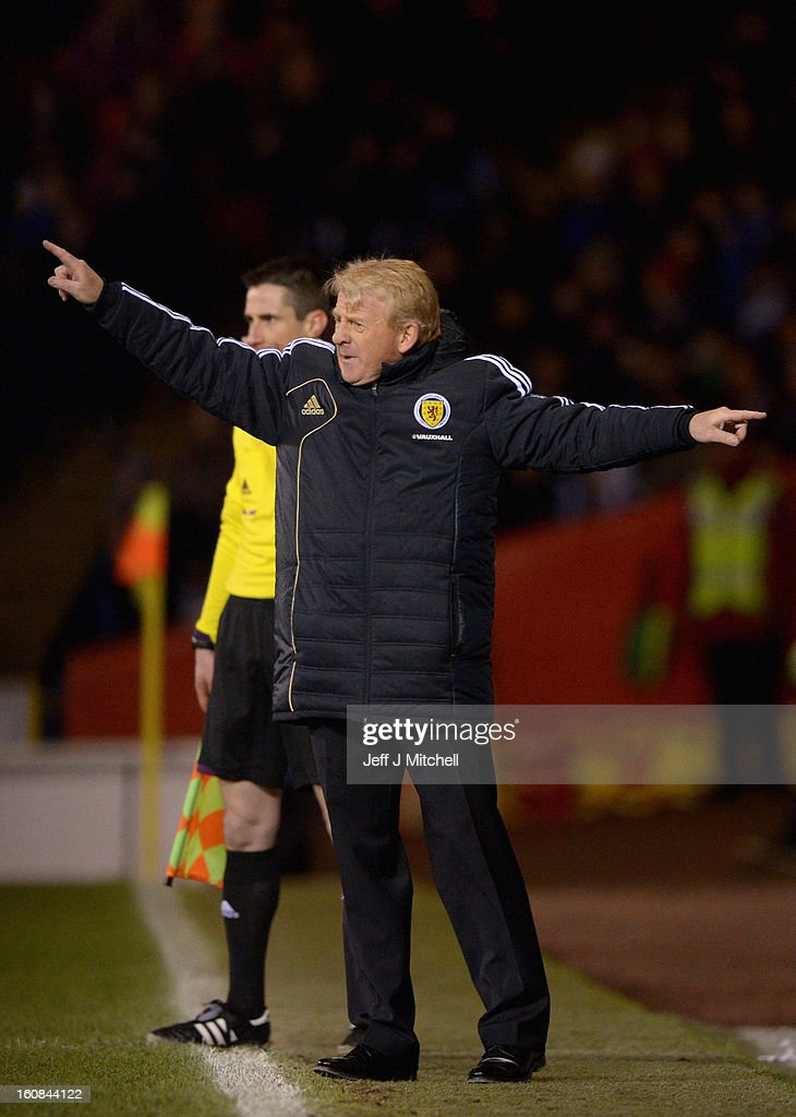 Gordon Stachan coach of Scotland reacts during the international friendly match between Scotland and Estonia at Pittodrie Stadium on February 6, 2013 in Aberdeen, Scotland.