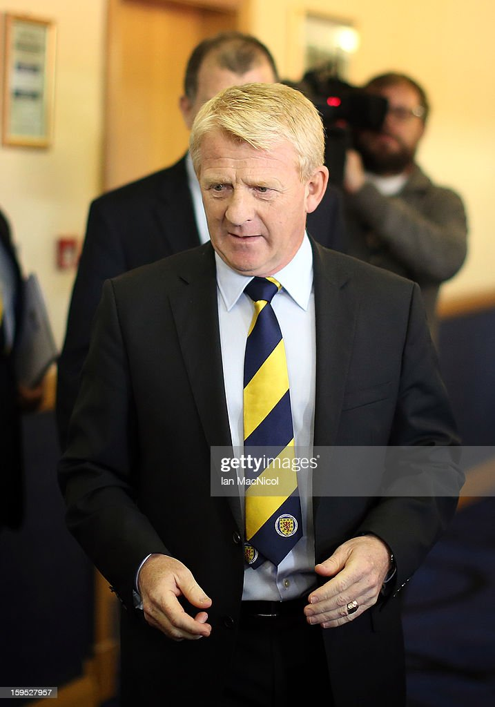 <a gi-track='captionPersonalityLinkClicked' href=/galleries/search?phrase=Gordon+Strachan&family=editorial&specificpeople=243133 ng-click='$event.stopPropagation()'>Gordon Strachan</a> attends a press conference to be officially presented as the new national team coach of Scotland at Hampden Park Stadium on January 15, 2013 in Glasgow, Scotland.