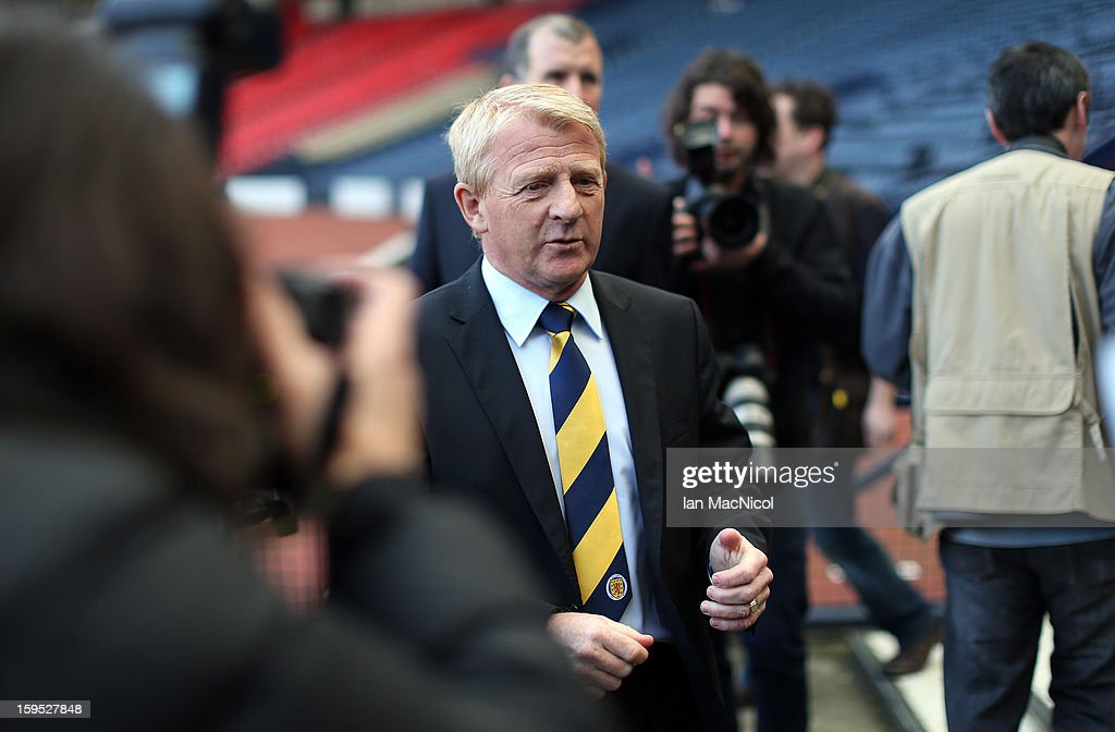 <a gi-track='captionPersonalityLinkClicked' href=/galleries/search?phrase=Gordon+Strachan&family=editorial&specificpeople=243133 ng-click='$event.stopPropagation()'>Gordon Strachan</a> attends a press conference to be presented as the new national team coach of Scotland during a press conference at Hampden Park Stadium on January 15, 2013 in Glasgow, Scotland.