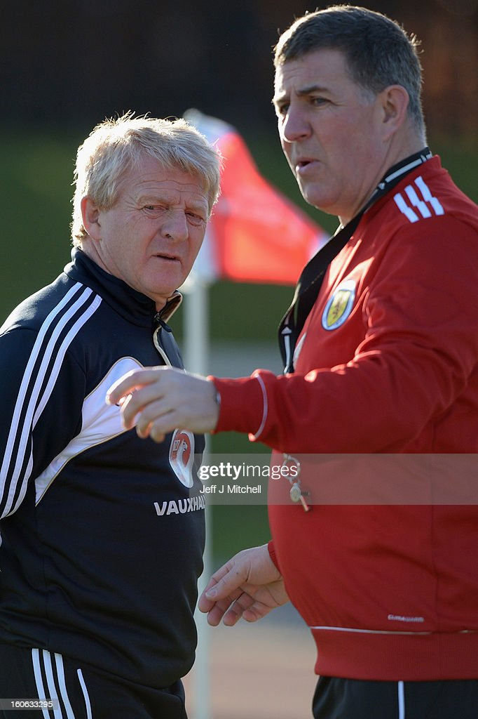 Gordon Strachan coach of Scotland and his assistant Mark McGhee take their first training session as the new management team of Scotland at the...