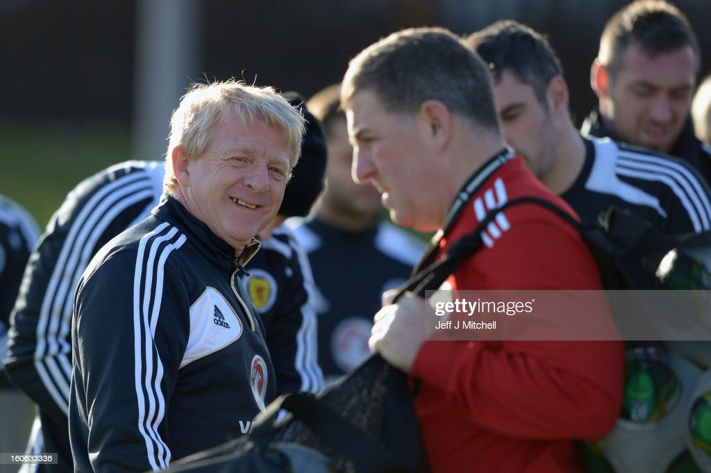 <a gi-track='captionPersonalityLinkClicked' href=/galleries/search?phrase=Gordon+Strachan&family=editorial&specificpeople=243133 ng-click='$event.stopPropagation()'>Gordon Strachan</a> coach of Scotland and his assistant <a gi-track='captionPersonalityLinkClicked' href=/galleries/search?phrase=Mark+McGhee&family=editorial&specificpeople=684163 ng-click='$event.stopPropagation()'>Mark McGhee</a> take their first training session as the new management team of Scotland at the Aberdeen Sports village on February 4, 2013 in Aberdeen, Scotland. Gordan Strachan will have his first game in charge against Estonia in an international friendly at Pittodrie on Wednesday.