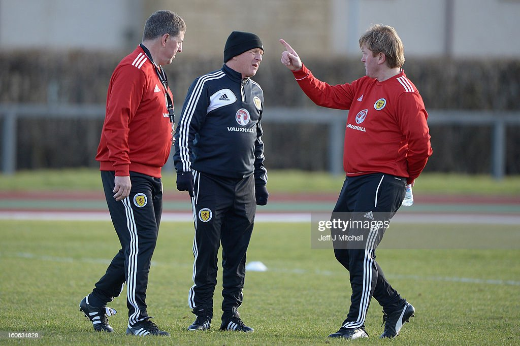 Gordon Strachan (C) coach of Scotland and his assistant Mark McGhee (L) take their first training session as the new management team of Scotland at the Aberdeen Sports village on February 4, 2013 in Aberdeen, Scotland. Gordan Strachan will have his first game in charge against Estonia in an international friendly at Pittodrie on Wednesday.