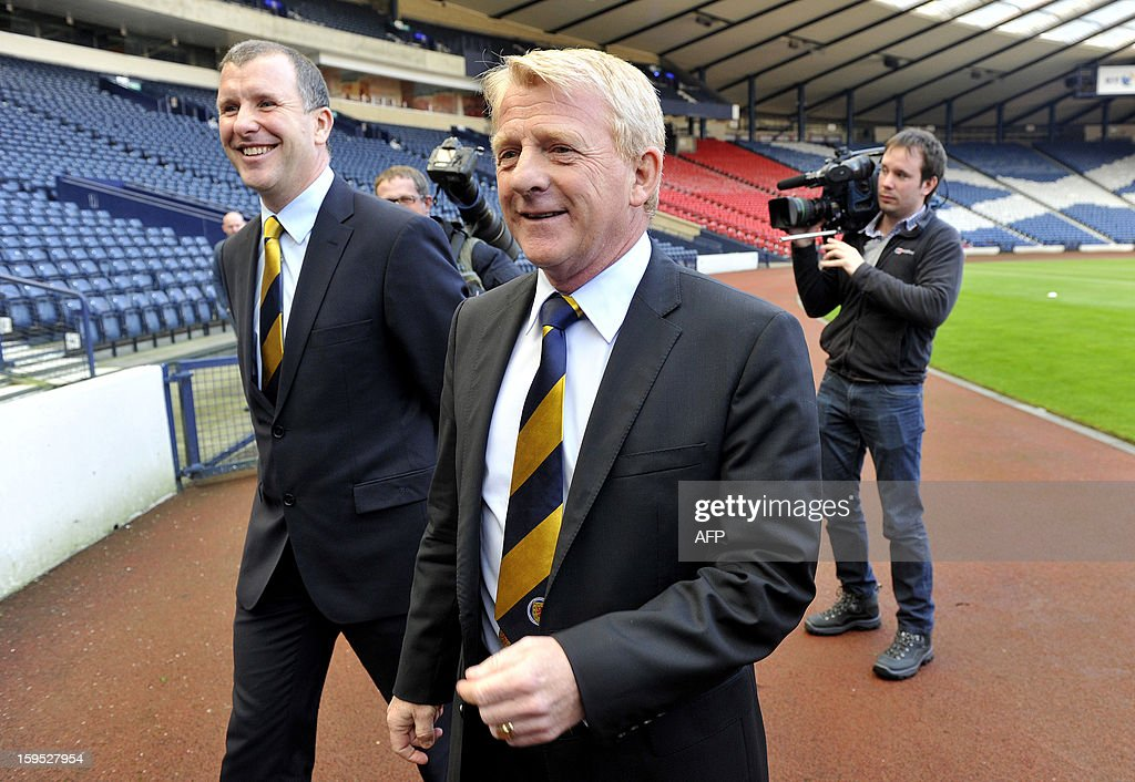 Gordon Strachan is pictured following the announcement of his appointment as manager for Scotland's football team in Glasgow on January 15, 2013. Strachan, a former Scotland midfielder, had long been the favourite to replace Craig Levein, who was sacked in November after a poor start to a World Cup qualifying campaign left Scotland's hopes of playing at Brazil 2014 in tatters.