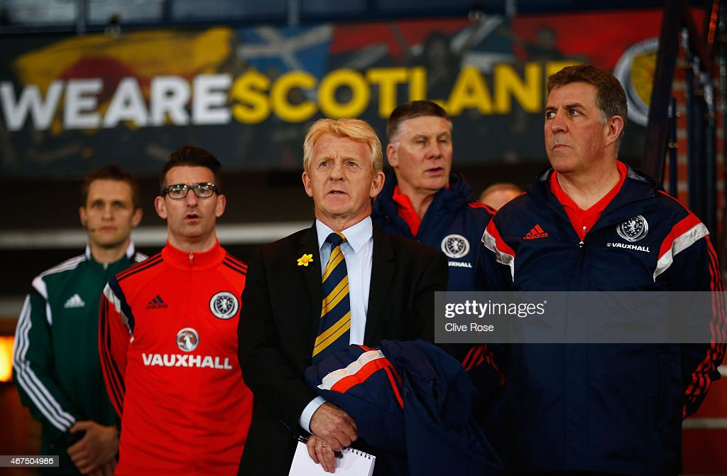 Gordon Strachan manager of Scotland and assistant manager Mark McGhee look on prior to the international friendly match between Scotland and Northern...