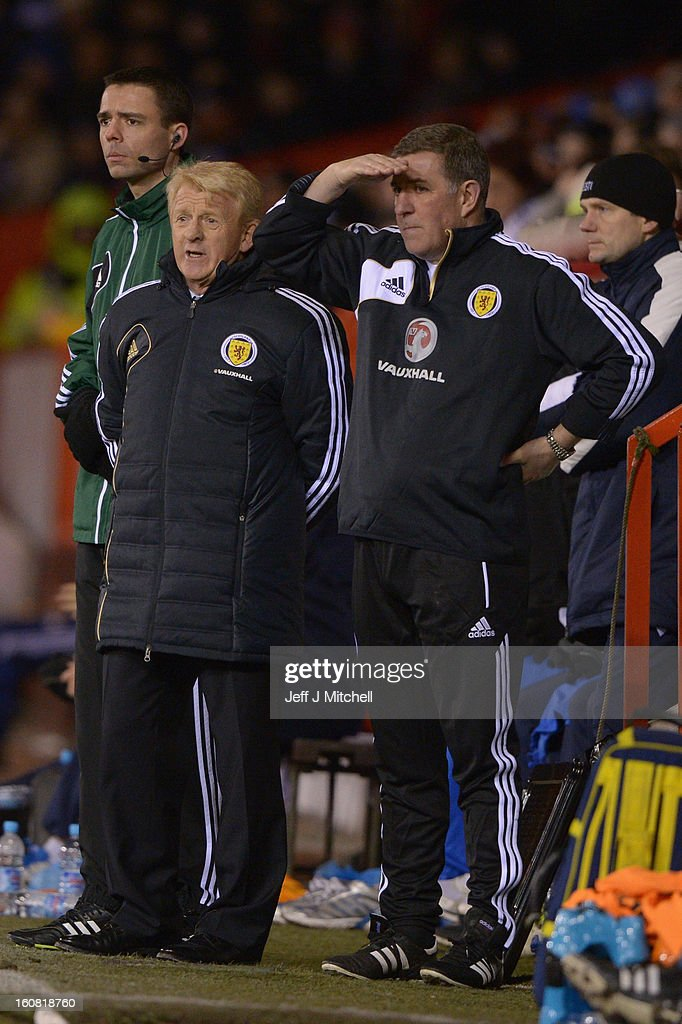 Gordon Strachan manager of Scotland and his assistant Mark McGhee react during the international friendly match between Scotland and Estonia at...