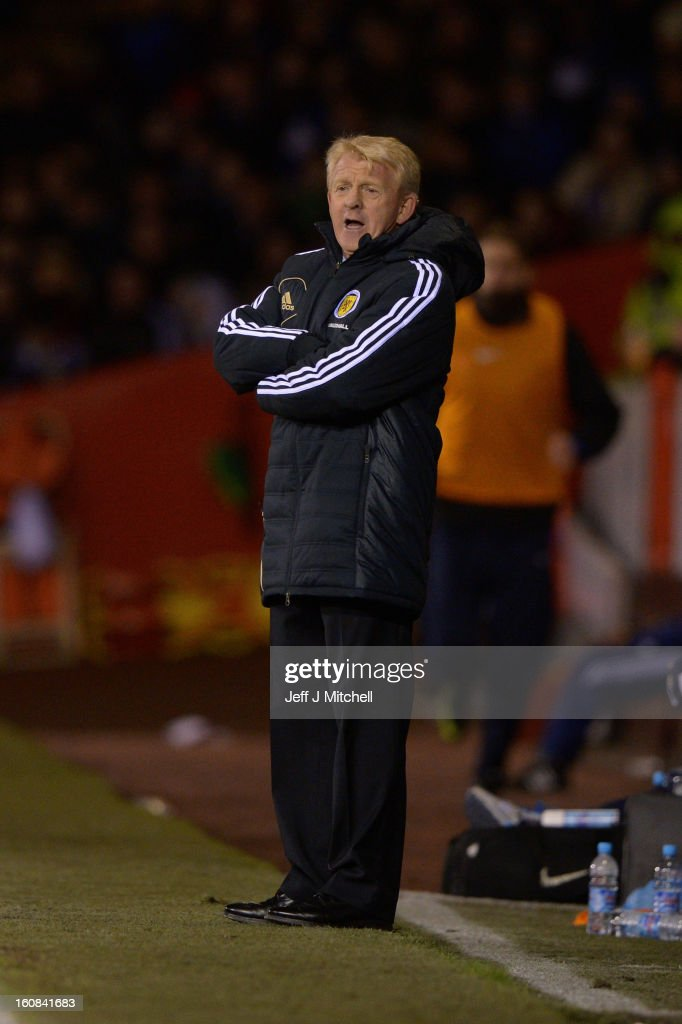 Gordon Strachan, manager of Scotland during the international friendly match between Scotland and Estonia at Pittodrie Stadium on February 6, 2013 in Aberdeen, Scotland.