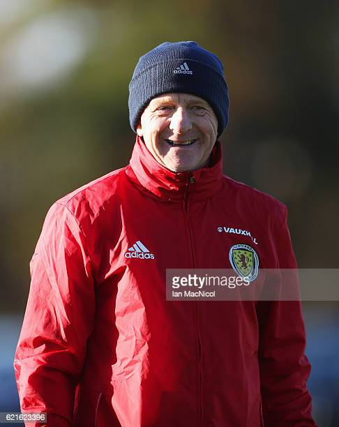 Gordon Strachan manager of Scotland smiles during a Scotland training session at Mar Hall on November 7 2016 in Glasgow Scotland Scotland are due to...
