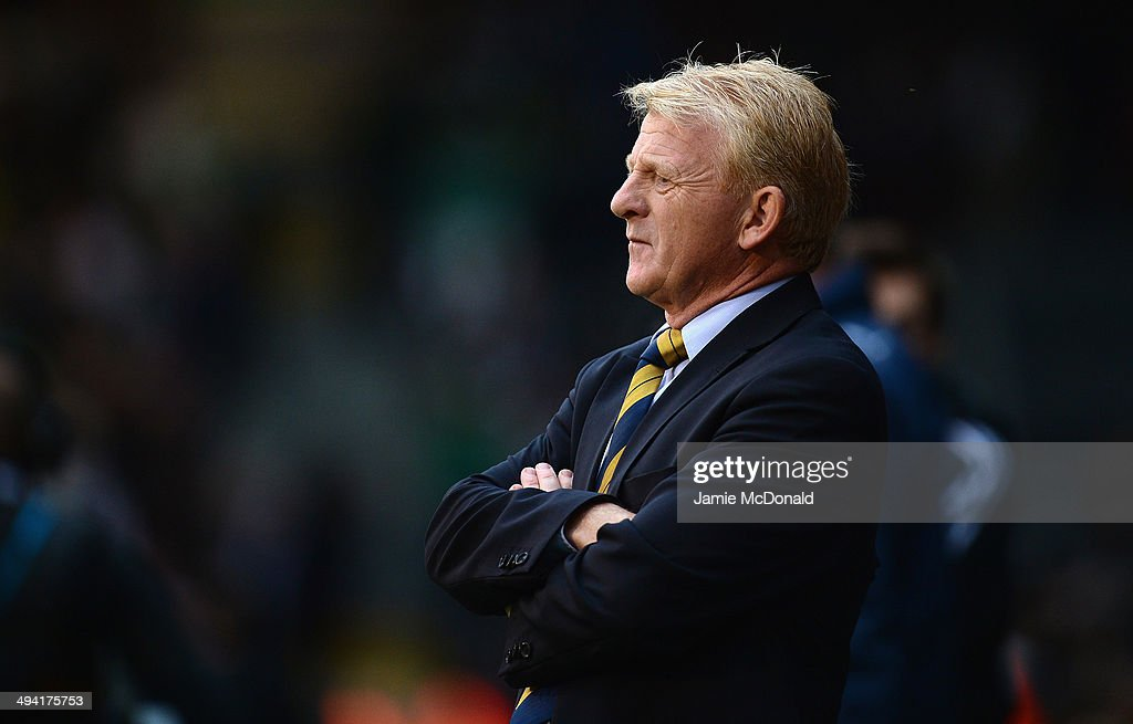 <a gi-track='captionPersonalityLinkClicked' href=/galleries/search?phrase=Gordon+Strachan&family=editorial&specificpeople=243133 ng-click='$event.stopPropagation()'>Gordon Strachan</a> of Scotland looks on during the International Friendly match between Nigeria and Scotland at Craven Cottage on May 28, 2014 in London, United Kingdom.