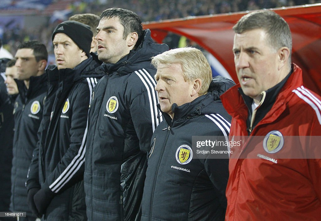 Gordon Strachan (2nd R) sings national anthem prior to the FIFA 2014 World Cup Qualifier between Serbia and Scotland at Karadjordje Stadium on March 26, 2013 in Novi Sad, Serbia.