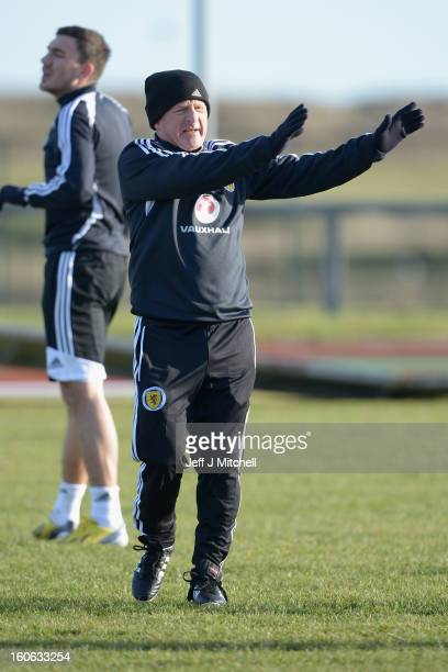 Gordon Strachan takes his first training session as Scotland coach at the Aberdeen Sports village on February 4 2013 in Aberdeen Scotland Gordan...