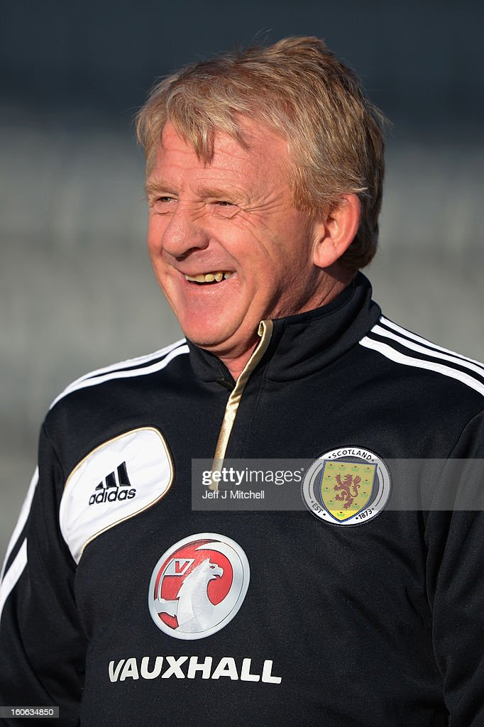 <a gi-track='captionPersonalityLinkClicked' href=/galleries/search?phrase=Gordon+Strachan&family=editorial&specificpeople=243133 ng-click='$event.stopPropagation()'>Gordon Strachan</a> takes his first training session as Scotland coach at the Aberdeen Sports village on February 4, 2013 in Aberdeen, Scotland. Gordan Strachan will have his first game in charge against Estonia in an international friendly at Pittodrie on Wednesday.