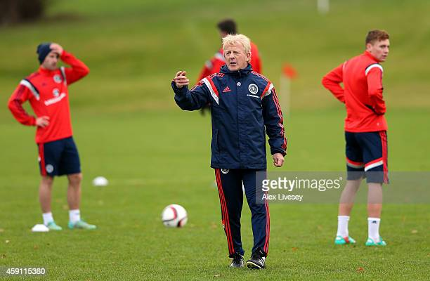 GLASGOW SCOTLAND NOVEMBER 17 Gordon Strachan the manager of Scotland directs his players during a training session at Mar Hall Hotel in Bishopton on...