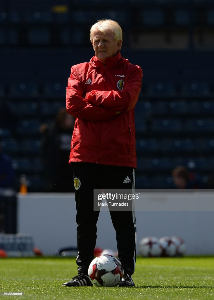 Gordon Strachan the manager of Scotland looks on during the Scotland training session at Hampden Park on June 7, 2017 in Glasgow, Scotland.