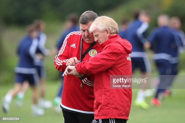 Gordon Strachan the Scotland manager and Mark McGhee the Scotland assistant manager watch over their players during the Scotland training session at...