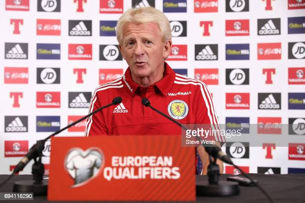 Gordon Strachan the Scotland manager speaks to the media during the Scotland Press Conference at Hampden Park on June 9 2017 in Glasgow Scotland