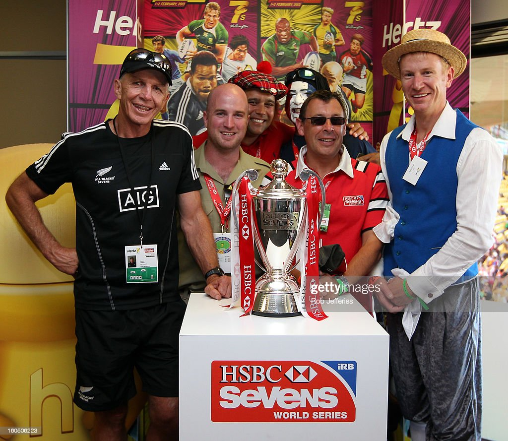 Gordon Tietjens poses for a photo with a fan during the Hertz Sevens, Round four of the HSBC Sevens World Series Westpac Stadium on February 2, 2013 in Wellington, New Zealand.