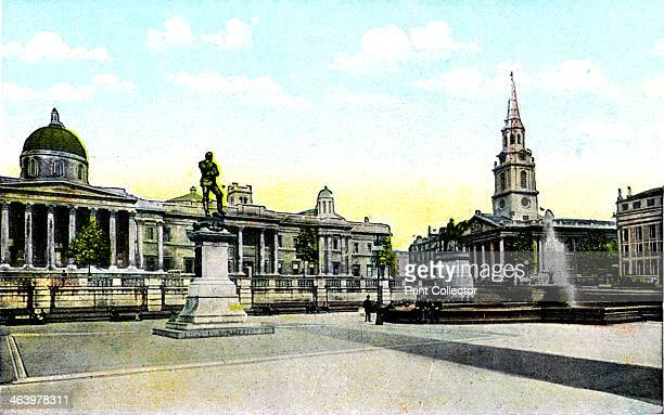 Gordon's Statue and National Gallery Trafalgar Square London 20th century The statue commemorating General Charles George Gordon killed at Khartoum...